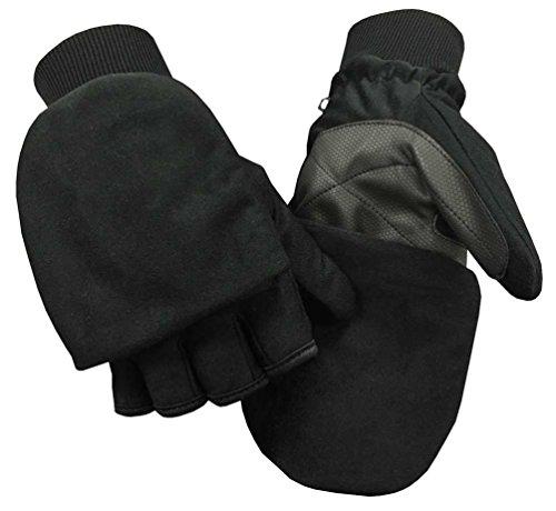 (Northstar Unisex Waterproof Thinsulate Flip Top Convertible Gloves, Black. 503BK)