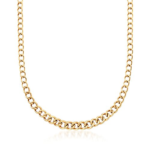 (Ross-Simons Italian 18kt Yellow Gold Graduated Curb-Link Necklace)
