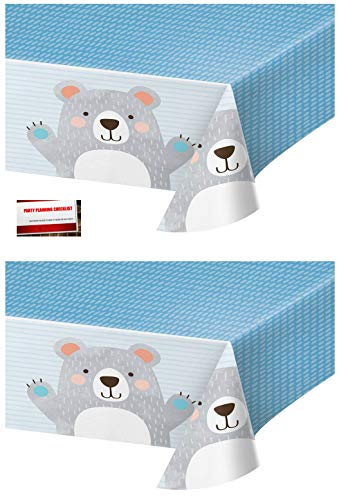 2 Pack - Bear Birthday Party Plastic Table Cover 54 x 102 Inches (Plus Party Planning Checklist by Mikes Super Store)