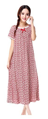 Women's Short Sleeve Ankle-Length Vintage Victorian Floral Nightgown 100% Cotton Embroidered Neckline & Cuff ()
