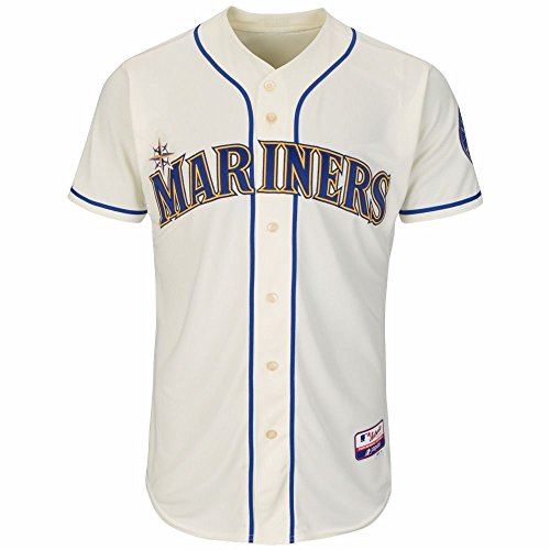 Authentic Cool Base Jersey - Seattle Mariners MLB Majestic Men's Ivory Authentic On-Field Cool Base Team Jersey (48)