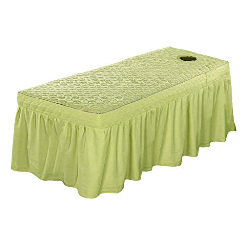 Flameer Back Face Massage Table Skirt Beauty Bedding Linen Pure Cotton 73x28inch Cosmetic Bed Valance Sheet Cover Bedskirts in 21inch - Pea Green