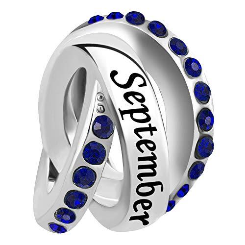 - LovelyJewelry April Birthday Simulated Birthstone Charms for Snake Chain Bracelets (September)