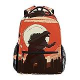 Orange Godzilla Dinosaur School Backpack Large Capacity Canvas Rucksack Satchel Casual Travel Daypack for Adult Teen Women Men Children