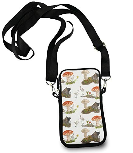 Roomy Pockets Series Fall Mushrooms In The Forest Small Crossbody Bag Cell Phone Purse Wallet For Women ()
