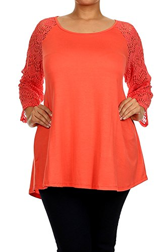 Modern Kiwi Minimale Lace Solid Long Sleeve Plus Size Tunic Top Coral 2X