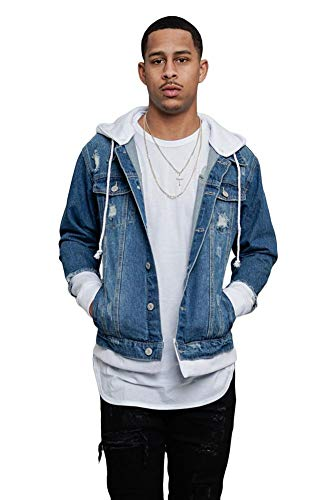 Victorious Detachable Hood Layered Look Distressed Denim Jacket DK140 - Indigo/White - Large - GG8C