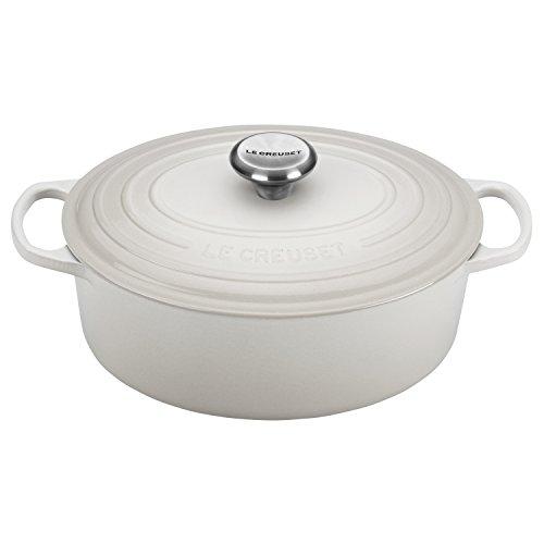 Le Creuset LS2502-2916SS Signature Oval Dutch Oven, 5 quart, White by Le Creuset