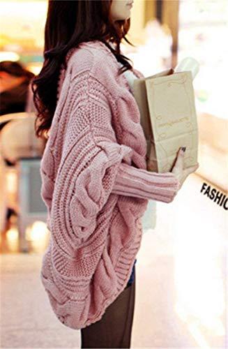Cardigan Manica Invernali Puro Giacca Di Cappotto Moda Giovane Autunno Maglia Donna Eleganti Women Calda Rosa Sciolto A Pipistrello Colore wxWx8pI1Yq