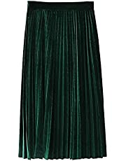 Floerns Women's High Waist Solid Velvet Pleated Midi Skirt