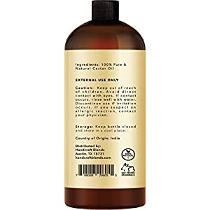 100% Pure Castor Oil - Huge 16 OZ - All Natural Premium Quality – Moisturizes & Protects Dry Skin – Used for Hair Growth, Eyelashes, Joint and Muscle Pain