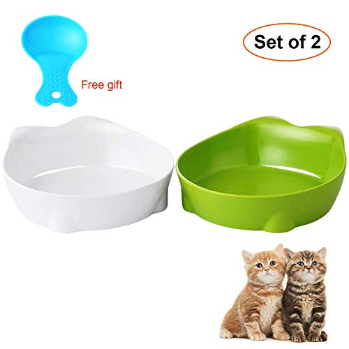 Vikedi Cat Food Bowl, Cat Bowls, Cat Ear Bowls, Non Slip Cat Dish Double Cat Feeding Bowls for Relief of Whisker Fatigue…