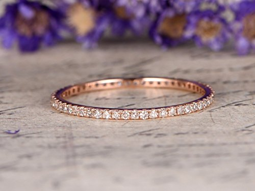 Natural Diamond Wedding Band Solid 14k Rose Gold Engagement Ring Micro Pave Full Eternity Thin Band Stacking Ring Bridal Anniversary Gift Promise Minimalist Matching Band Simple