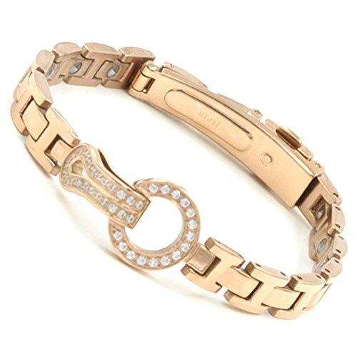 [해외]Rakii 게르 마 늄 팔찌 스테인리스 핑크 골드 R9 / Rakii Germanium Bracelet Stainless Steel Pink Gold R9