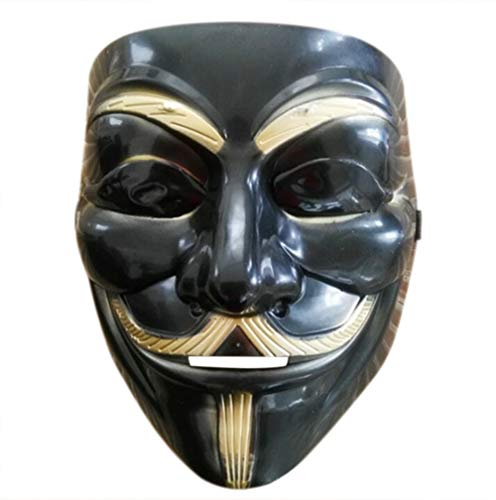 Halloween Anonymous Costume Cosplay Guy Fawkes V for Vendetta Mask (Black Without Eyes) -