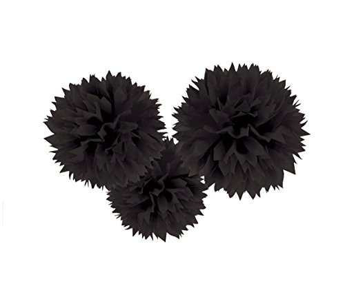Jet Black Fluffy Paper Pompoms | Party Decor