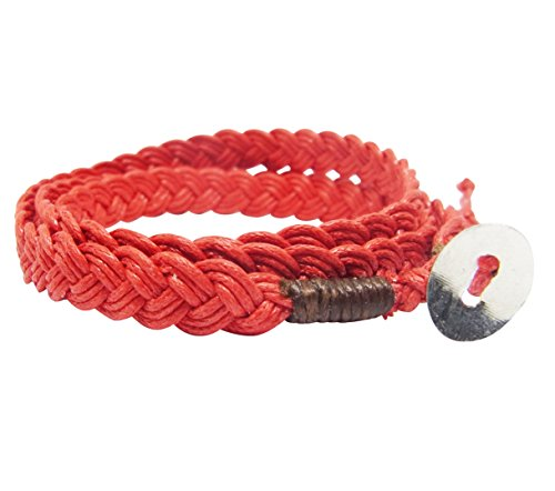 NA RIN Bracelet Men Women Classic Thai Boxing Outdoor Cotton String 3 Wrap Red Adjuastable