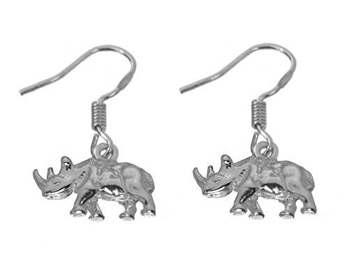 Genuine Sterling Silver 925 Jewelry Rhino Rhinoceros Earrings Detail Zoo animal (Earrings Rhino)