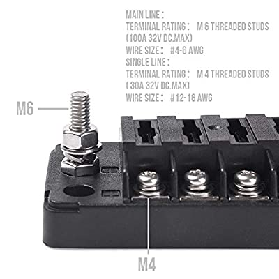 MICTUNING 12-Way Blade Fuse Block with Cover Fuse Box Holder for Vehicle Boat Marine: Automotive