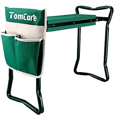 "TomCare Garden Kneeler Seat Garden Bench Garden Stools Foldable Stool with Tool Bag Pouch EVA Foam Pad Outdoor Portable Kneeler for Gardening(Large-21.65"" x 10.62"" x 18.89"",Green)"