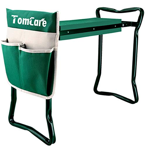 - TomCare Garden Kneeler Seat Garden Bench Garden Stools Foldable Stool with Tool Bag Pouch EVA Foam Pad Outdoor Portable Kneeler for Gardening(Large-21.65