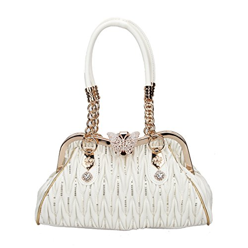 Butterfly Studded Tote - Fawziya Butterfly Shoulder Bags Crossover Bag For Women Handbags Pu Leather-White