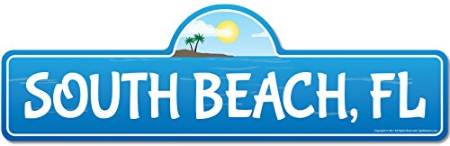 South, FL Florida Beach Street Sign | Indoor/Outdoor | Surfer, Ocean Lover, Décor for Beach House, Garages, Living Rooms, Bedroom | Signmission Personalized Gift