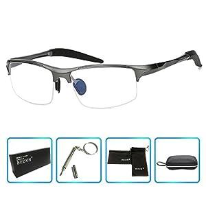 Beison Sports Optical Eyeglasses Frame Plain Glasses Clear Lens Rx (Gun metal, 58)
