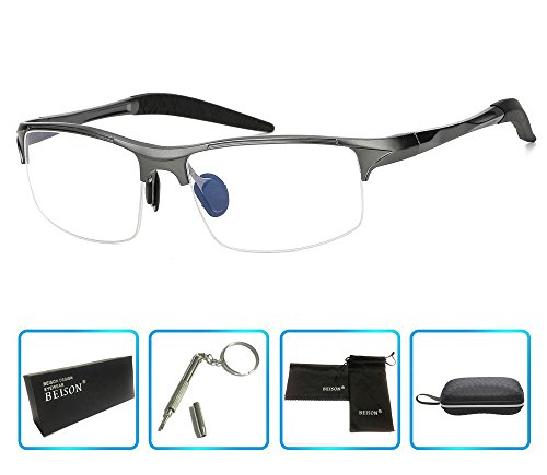 Beison Sports Optical Eyeglasses Frame Plain Glasses Clear Lens Rx (Gun metal, - Sport Prescription Eyeglasses