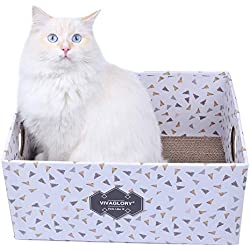 Vivaglory Cat Scratcher Box, Cardboard Cat Scratch Bed Scratching Pad Toy for Big Large Cats, Triangle