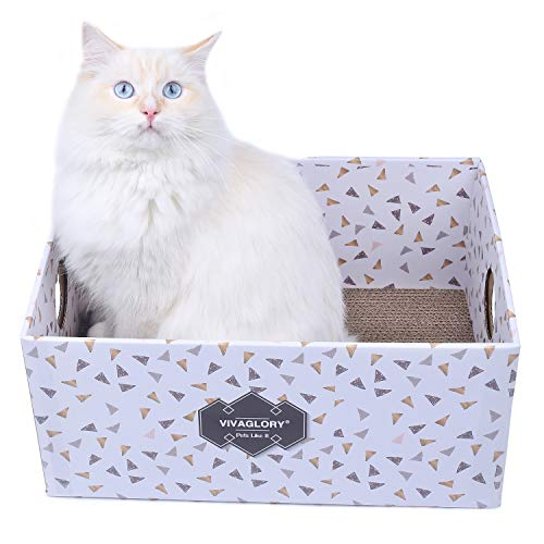 - Vivaglory Cat Scratcher Box, Cardboard Cat Scratch Bed Scratching Pad Toy for Big Large Cats, Triangle