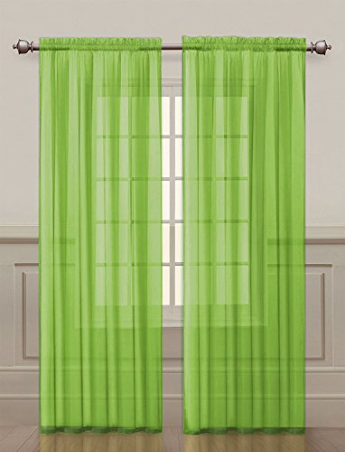 2 Pack: Ultra Luxurious High Thread Rod Pocket Sheer Voile Window Curtains by GoodGram - Assorted Colors (Green)