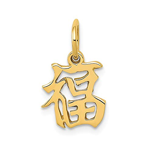14k Yellow Gold Chinese Symbol Good Luck Pendant Charm Necklace Italian Horn Fine Jewelry Gifts For Women For Her (Charm Chinese Italian Character)