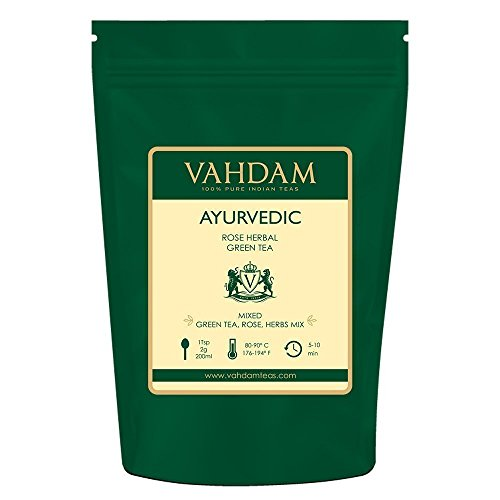 VAHDAM, Ayurvedic Herbal Tea (50 Cups), 21 HERBS, 100% Natural Tea, Organic Green Tea Leaves blended with 21 Medicinal Herbs from India, Serve Hot or Iced, 3.53oz - Pair Estate Roses