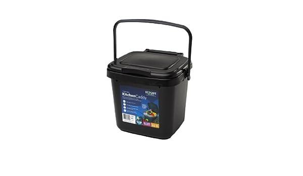 EcoSafe KCBLK Cubo de basura, para desperdicios de alimentos, plástico, 7 litros, color negro: Amazon.es: Hogar