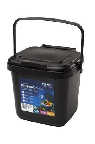 EcoSafe Kitchen Caddy KCBLK Food Waste Bin, Plastic, 2-Gallon, Black - Compost Plastic Composter