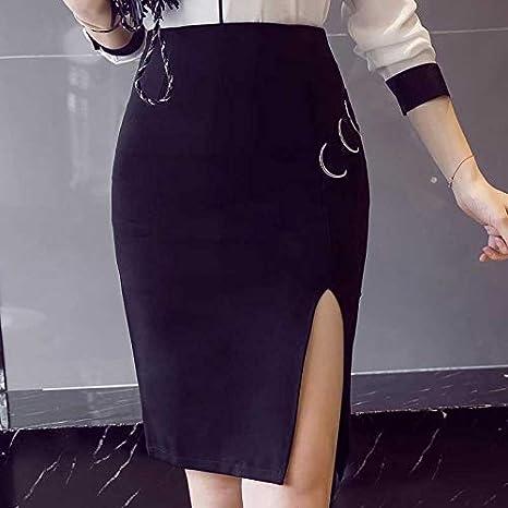 DAHDXD Faldas de Mujer Moda Cintura Alta Trabajo Formal Oficina ...