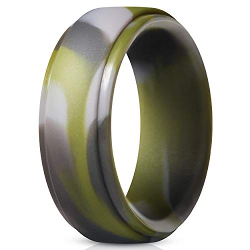 ThunderFit Silicone Rings for Men - Single Ring Rubber Wedding Bands (Green Camo, 6.5-7 -