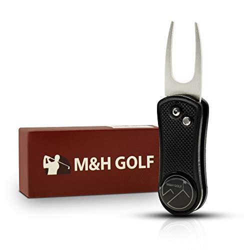 M&H GOLF Premium Foldable Golf Divot Tool with Golf Ball Marker Pop-Up Button Magnetic Ball Marker | Convenient Ergonomic Repair Liner Pitch Fork Precise Putting Gift Box Kit for Men Women ()