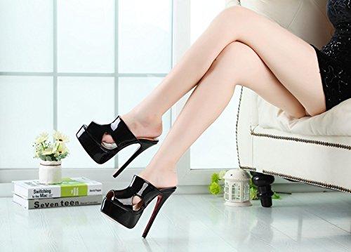 HeiSiMei Sandali delle donne / scarpe sexy / tacco a spillo / bocca dei pesci / Spesso impermeabile piattaforma / Party & Sera / Nightclub / Uomo / Unisex , Flower , EU48 BLACK-EU47