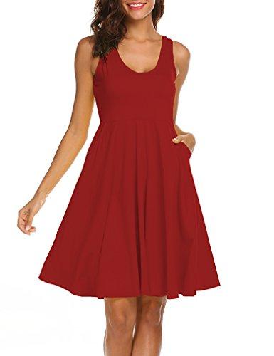 MISELON Women Pocket V Neck Sleeveless Empire Waist Graduation Dress (Dark Red, L) Empire Waist Tank Dress