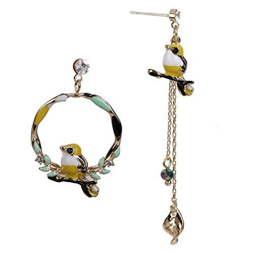 (Hiddleston Asymmetric Geometric Bird Dangle Drop Earrings Round Hoop Chain Tassel Leave Jewelry For Women Teen Girl)
