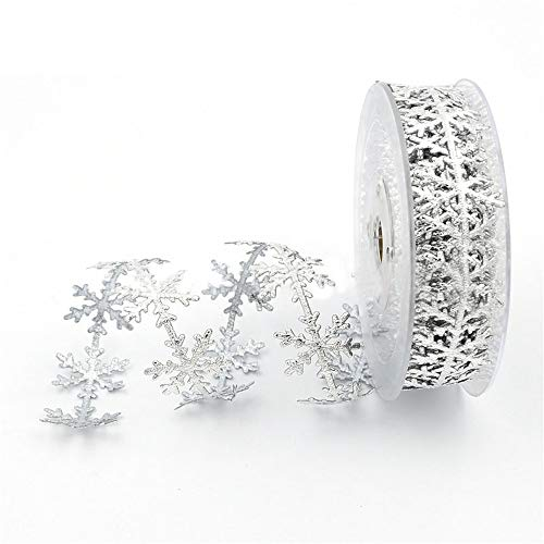 JKJF Silver Glitter Snowflake Ribbon Lace, Silver Sequins Trim Ribbon Christmas Celebration Decoration, Festive Event, Birthday, Wedding Decoration, Embossed Ribbon 0.98 Inch x 10 Meters (Silver) ()
