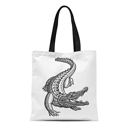 Semtomn Cotton Canvas Tote Bag Tattoo Crocodile Alligator Animal Tribal Ethnic Drawn Hand Jungle Reusable Shoulder Grocery Shopping Bags Handbag Printed -
