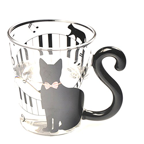 Generic Creative Cat Kitten Glass Glasses Beer Mug Tea Milk Coffee Cup with Handle Gift (Demitasse Cup Only Flat)