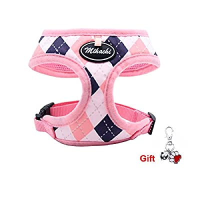 Soft Mesh Dog Harness for Small Dogs - No Pull Dog Vest with Comfort Padded, Adjustable Buckle and Classic Plaid Design for Small Dogs and Cat Walking