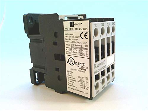 Non-REVERSING 1NO Auxiliary Contact 12A 3 Pole Full Product Replacement RADWELL RAD-CTR-3P-0025 CONTACTOR 230V 50//60HZ