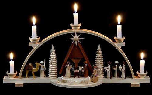 German candle arch Nativity scene, length 47 cm / 19 inch, natural, original Erzgebirge by Mueller Seiffen MU 12418 by ISDD Cuckoo Clocks
