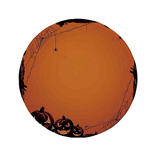 Non-Slip Rubber Round Mouse Pad,Halloween Decorations,Grunge Spider Web