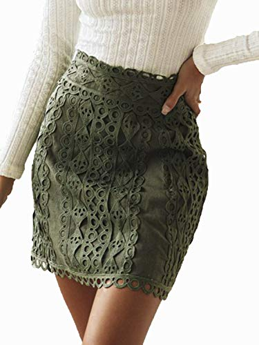 Simplee Women's A-line Lace Embroidery Patchwork Zip Back Elegant Mini Skirt (Green 4/6)